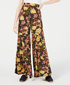 Free People Floral-Print Tiered Wide-Leg Pants