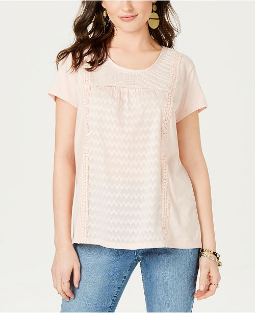 Style & Co Mixed-Print T-Shirt, Created for Macy's