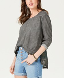 Style & Co Print-Back Scoop-Neck Top, Created for Macy's