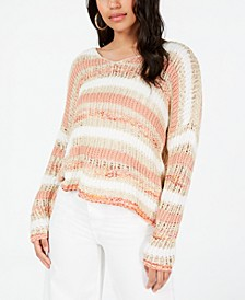 Juniors' Striped Open-Knit Sweater, Created for Macy's