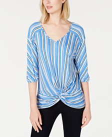 NY Collection Petite Striped Twist-Front Top