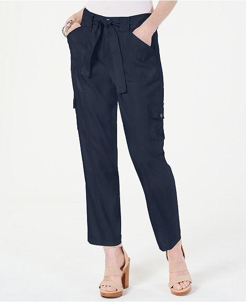 INC International Concepts I.N.C. Cargo Paper Bag Ankle Pants, Created for Macy's