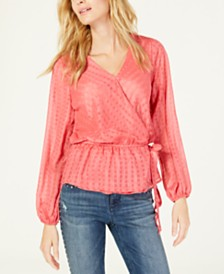 I.N.C. Clip-Dot Wrap Top, Created for Macy's