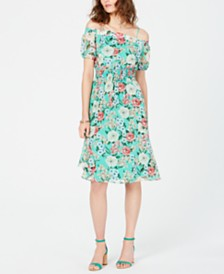 I.N.C. Printed Smocked Off-The-Shoulder Dress, Created for Macy's