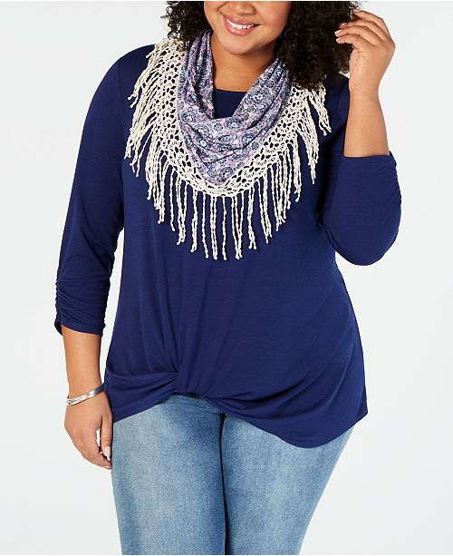 NY Collection Plus Size Twist-Front Scarf Top