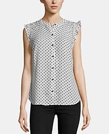 ECI Ruffle-Shoulder Dot-Print Top