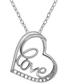 "Diamond Love Heart 18"" Pendant Necklace (1/10 ct. t.w.) in Sterling Silver"