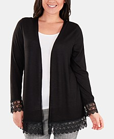 Petite Open-Front Lace-Trimmed Cardigan Sweater