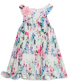 Rare Editions Baby Girls Pleated Butterfly-Print Chiffon Dress
