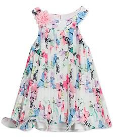 Rare Editions Baby Girls Pleated Butterfly-Print Chiffon Dress