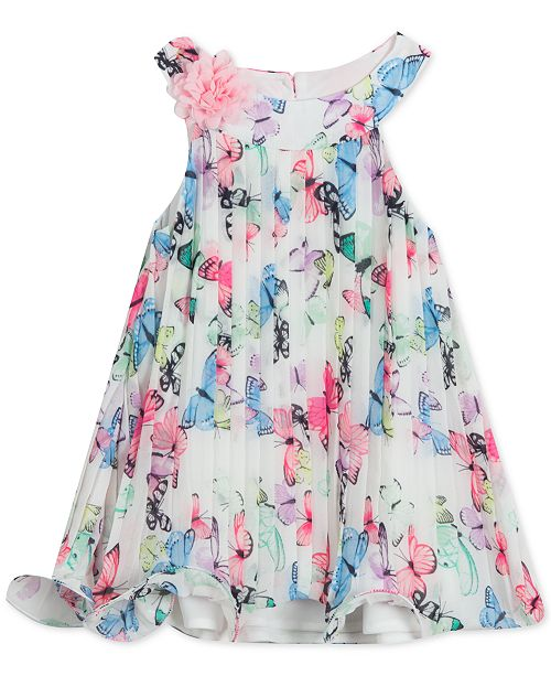 eddf8b5f8 Rare Editions Baby Girls Pleated Butterfly-Print Chiffon Dress ...