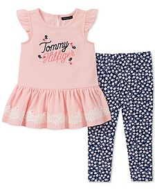 Tommy Hilfiger Baby Girls 2-Pc. Embroidered Tunic & Printed Leggings Set