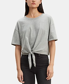 Levi's® Striped Tie-Front Cotton T-Shirt