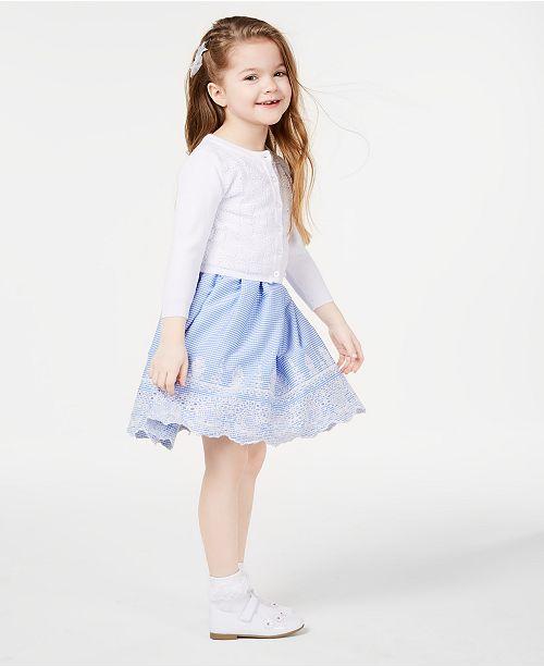 Blueberi Boulevard Little Girls Crochet-Front Cardigan