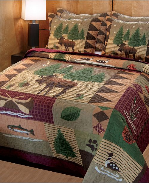 Greenland Home Fashions Moose Lodge Quilt Set, 3-Piece King