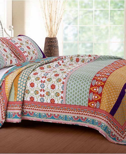 Greenland Home Fashions Thalia Quilt Set, 3-Piece Full - Queen