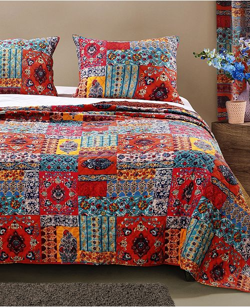 Greenland Home Fashions Indie Spice Quilt Set, 3-Piece Full - Queen