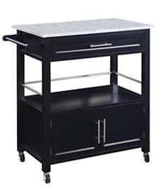 Cameron Kitchen Cart with Granite Top, Black