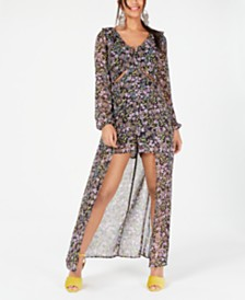 Material Girl Juniors' Printed Cutout Walk-Through Dress, Created for Macy's