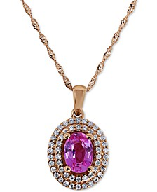 "Pink Sapphire (1 ct. t.w.) & Diamond (1/5 ct. t.w.) 18"" Pendant Necklace in 14k Rose Gold"