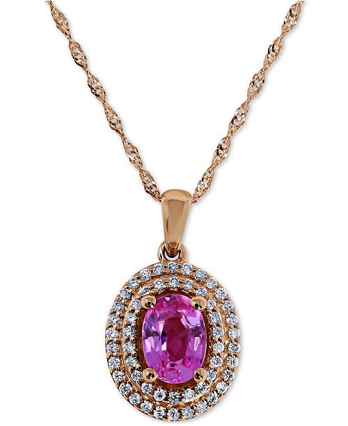 "Macy's Pink Sapphire (1 ct. t.w.) & Diamond (1/5 ct. t.w.) 18"" Pendant Necklace in 14k Rose Gold"