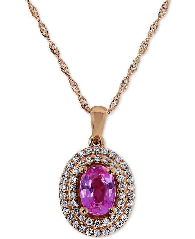 """Macy's Pink Sapphire (1 ct. t.w.) & Diamond (1/5 ct. t.w.) 18"""" Pendant Necklace in 14k Rose Gold"""