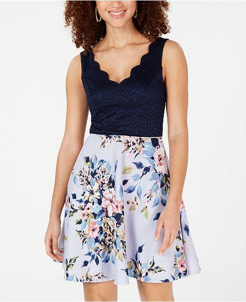 City Studios Juniors' Scalloped Lace & Floral Dress