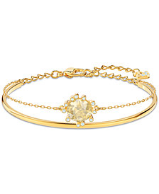 Swarovski Gold-Tone Crystal Double-Layer Bangle Bracelet