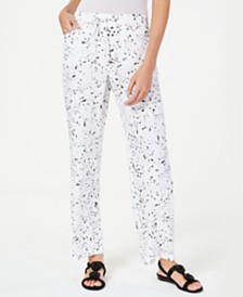 JM Collection Printed Crinkle Texture Pull-On Pants, Created for Macy's
