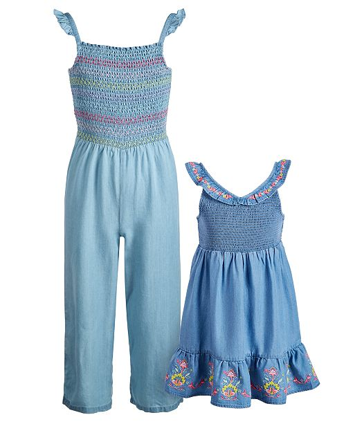 Epic Threads Sisters Smocked Embroidered Jumpsuit & Dress, Created for Macy's