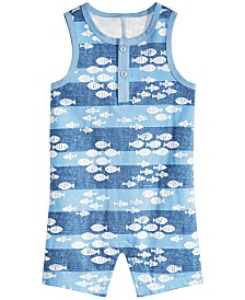First Impressions Baby Boys Fish-Print Cotton Sunsuit, Created for Macy's