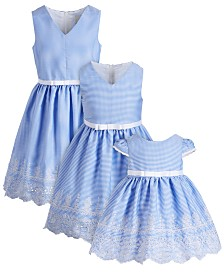 Rare Editions Sisters Embroidered Gingham Dresses