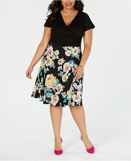 City Studios Plus Size Faux-Wrap Dress