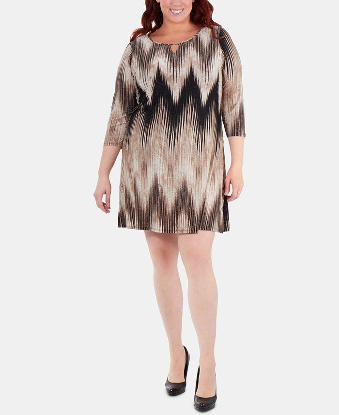 NY Collection - Plus Size Chevron-Print Keyhole Shift Dress