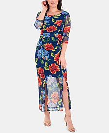 Printed Double-Slit Maxi Dress