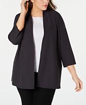 98255de8e01 Eileen Fisher Plus Size Open-Front Jacket