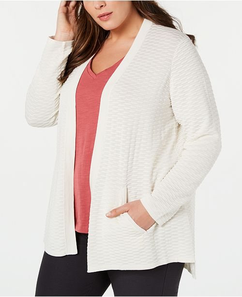 Eileen Fisher Plus Size Silk Blend Simple Cardigan Sweater
