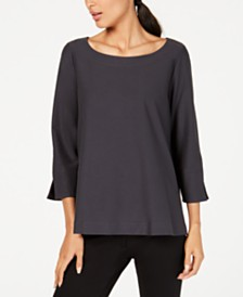 Eileen Fisher 3/4-Sleeve Boat-Neck Top