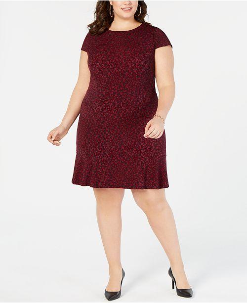f3c228b76e8 Michael Kors Plus Size Printed Ruffle-Hem Dress   Reviews - Dresses ...
