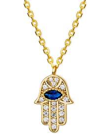 "Cubic Zirconia Hamsa Hand Pendant Necklace in 18k Gold-Plated Sterling Silver, 16"" + 2"" extender"