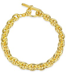Wide Rolo Link Toggle Bracelet in 18k Gold-Plated Sterling Silver, Created for Macy's