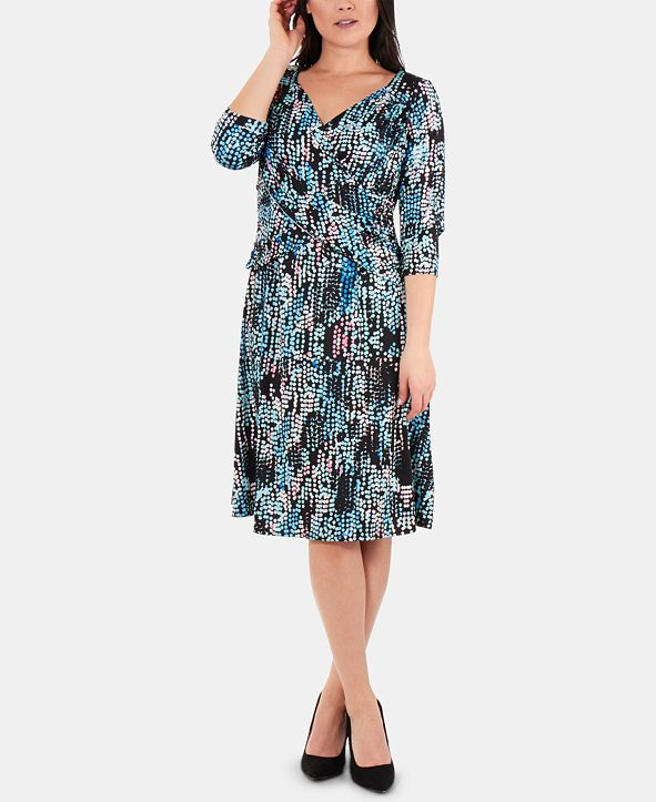 NY Collection Printed Crossover-Bodice 3/4-Sleeve Dress