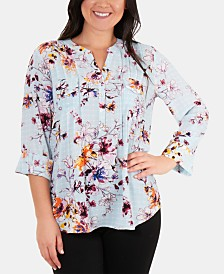 NY Collection Pleated Floral-Print Top