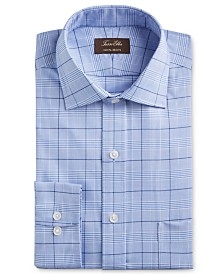 Tasso Elba Men's Classic/Regular Fit Non-Iron Supima Cotton Glen Plaid Dress Shirt, Created for Macy's