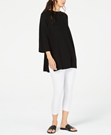 Eileen Fisher Black Tunic And White Leggings