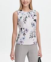 b0805fbb87b29c Calvin Klein Printed Pleat-Neck Top
