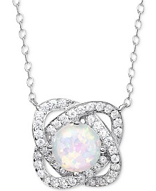 "Giani Bernini Imitation Opal & Cubic Zirconia Love Knot 18"" Pendant Necklace in Sterling Silver, Created for Macy's"