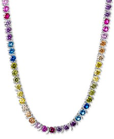 "Giani Bernini Multicolor Cubic Zirconia 18"" Collar Necklace in Sterling Silver, Created for Macy's"