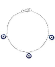 Cubic Zirconia Evil Eye Charm Bracelet in Sterling Silver