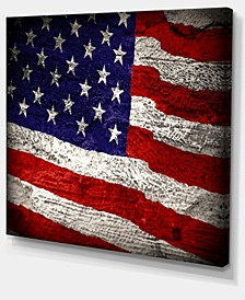 "Designart Large American Flag Watercolor Abstract Canvas Artwork - 40"" X 30"""